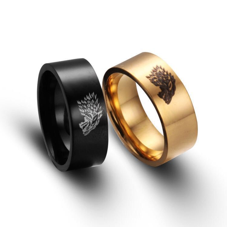 2017 Fashion Gold Black Silver Color Stainless Steel Wolf Ring Game of Thrones House Stark of Winterfell Punk Biker Men Jewelry