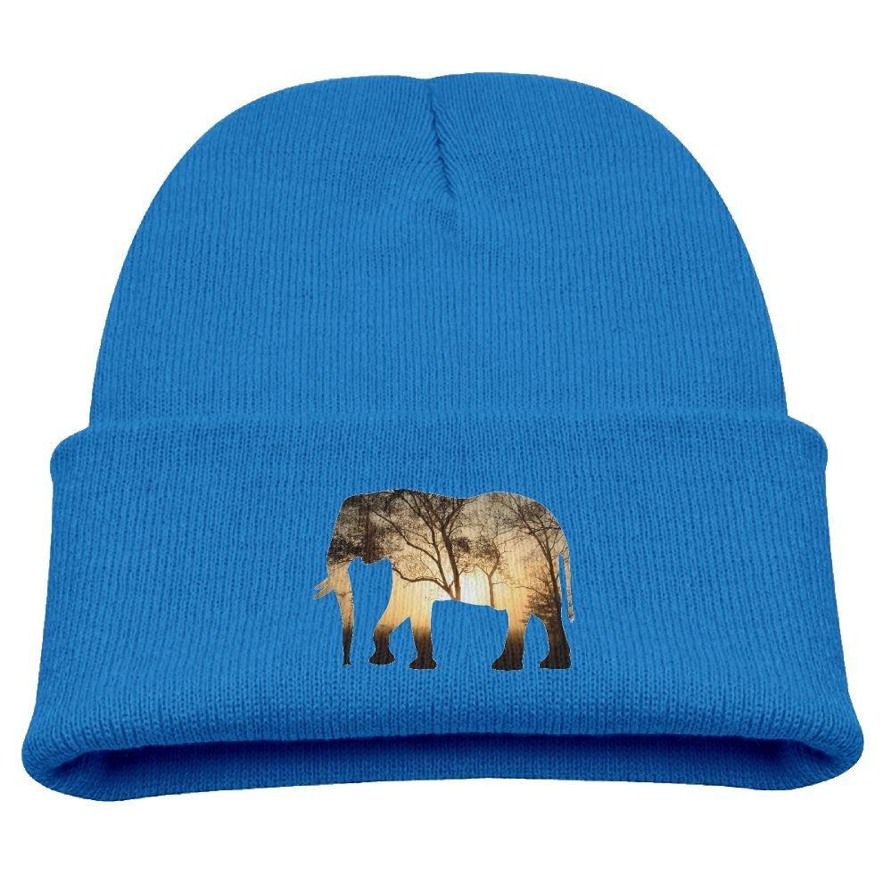 409e834b5ba Get Quotations · Sunset Forest Elephant Unisex Kids Warm Winter Hat Knit  Beanie Skull Cap Cuff Beanie Hat Winter