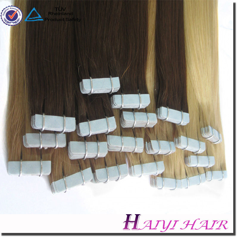 Large Stock Top Quality Virgin Hair Tape Hair Extension Two Tone Colored Tape Hair Ombre