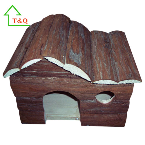 Wooden Pet cages Small Animal Hut Bark Hamster Houses