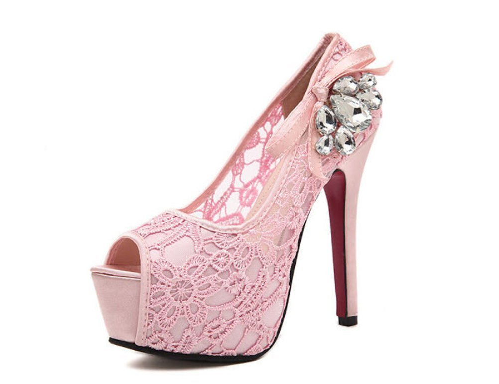 Sexy Lace Diamond Waterproof High-heeled Shoes Wedding Shoes Fish Mouth High-heeled Shoes