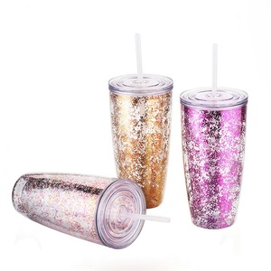 Factory wholesale custom 24oz double wall straw custom cups logo glitter plastic cup with straw lid