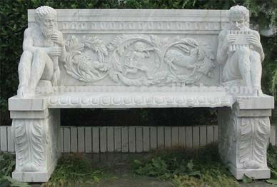 bancos de jardn de piedra marmol con figura estatua