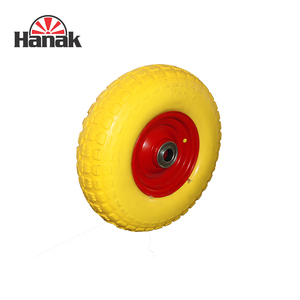 wheelbarrow pu foam wheels 4.00-6 flat free tire