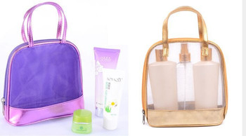 Purple Women Travelling Cosmetic Bag Transpa Pouch With Handle Mesh Bags