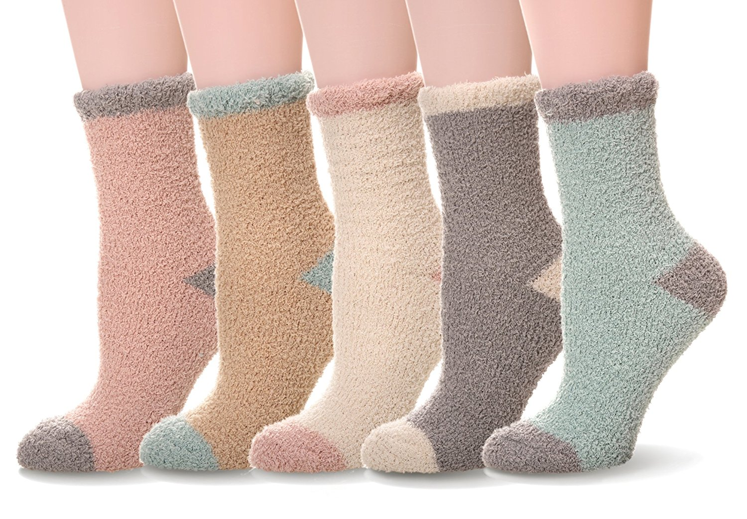 WENER Women's 5 pairs Super Soft Microfiber Fuzzy Winter Warm Slipper Home Socks