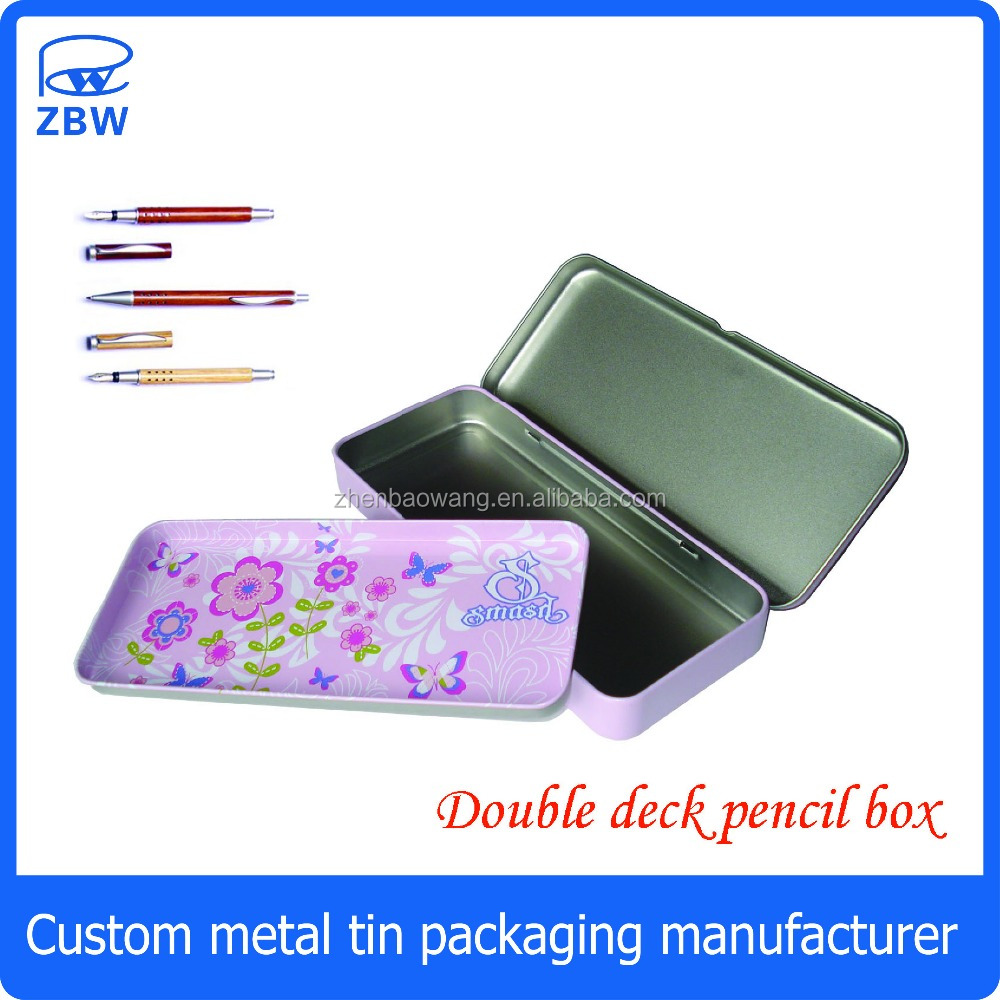 Double deck tin pencil box rectangular pencil box tin with 2 layer