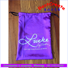 Manufacturer Custom Logo drawstring Hair Accessory Packaging Pouches soft purple Satin Bags