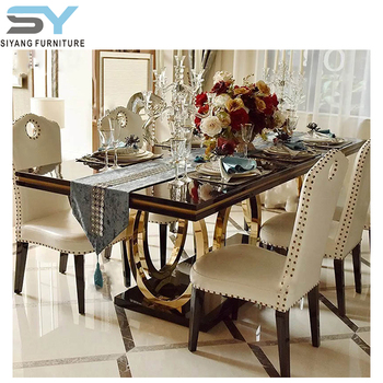 Marble Top Stainless Steel Base Modern Turkish Furniture Dining Table Set CT008