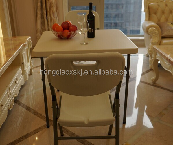 white cheap durable square fold up dinner table, 86cm length for 4 person use, plastic folding mahjong square table