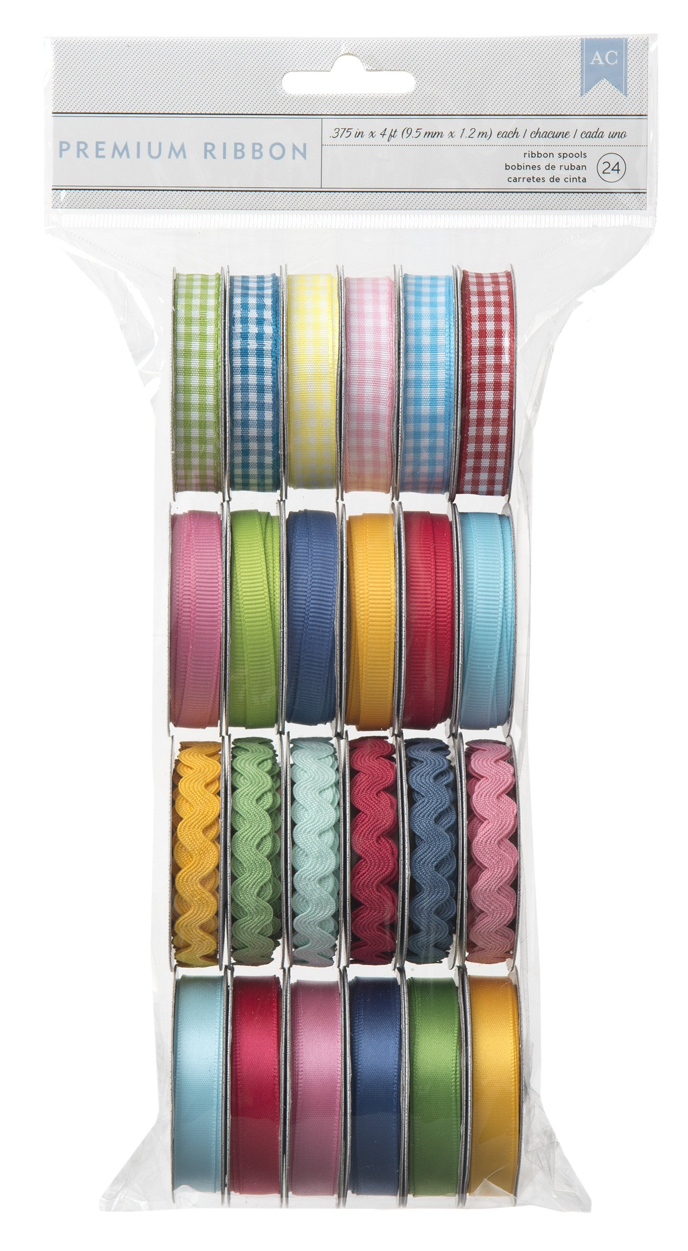 American Crafts Extreme Value Ribbon Variety Pack 24 pack | Includes 6 gingham rolls, 6 basic grosgrain rolls, 6 ric rac rolls, and 6 solid satin rolls in assorted colors