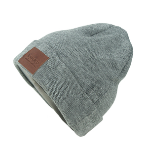 a48ee81e93d Knitted Beanie Hat With Leather Label Wholesale