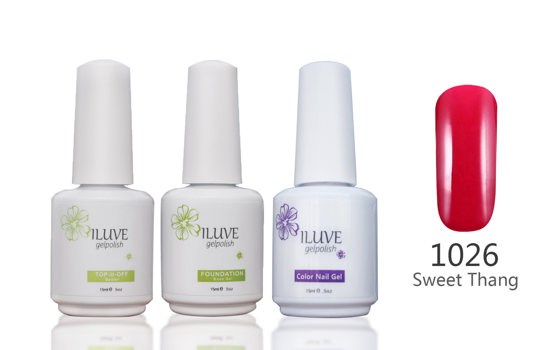 3 packs iLuve Professional Sweet Thang Red Nail Gel Polish UV LED Lamps Gel 15ml Base