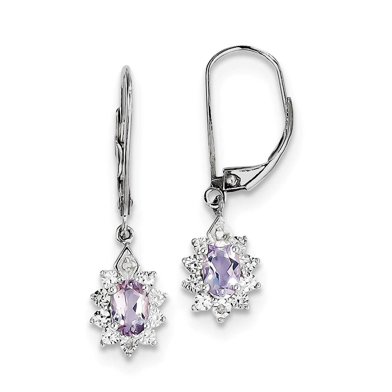 .925 Sterling Silver Rhodium-plated Pink Quartz & Diamond Dangle Earrings