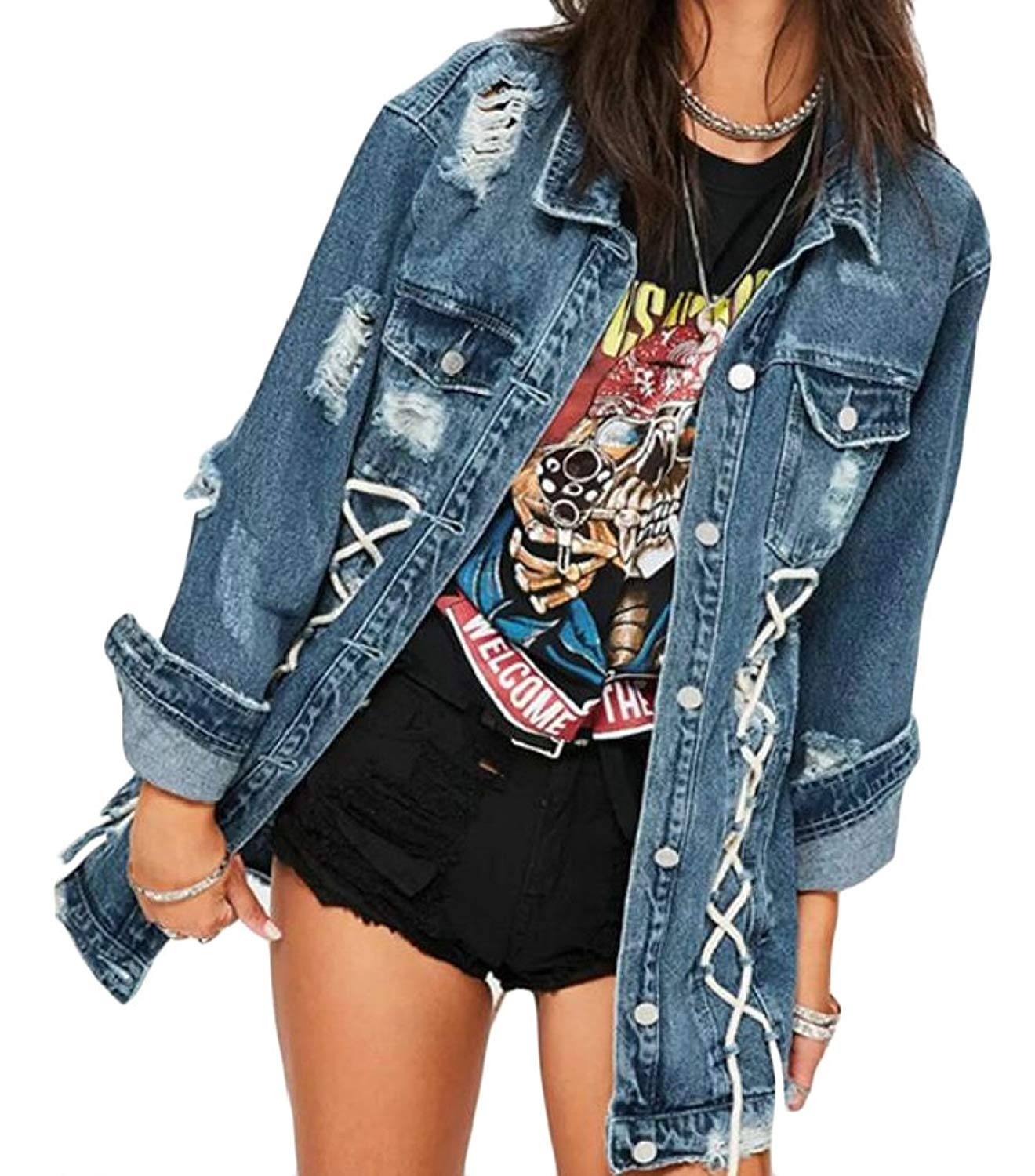 M&S&W Womens Long Sleeve Blue Distressed Button Denim Jean Jacket Coat with Pockets Regular