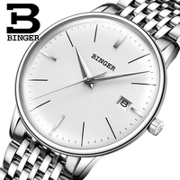 BINGER 5078 S Seiko Automatic Movement Top Brand Luxury Stainless Steel Strap Men Mechanical Watch