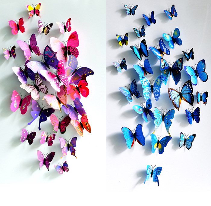 HOT SALES Warm Butterfly 3D PVC Wall Pin Sticker Stereoscopic 3d Curtain Refrigerator Wedding Hall Home Decor Pin Wall Sticker