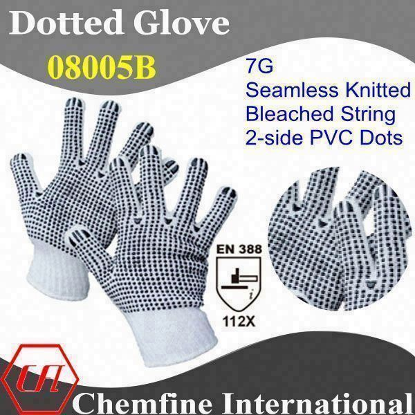 7G Bleached Polyester/Cotton Knitted Glove with 2-side Black PVC Dots and Ribbed Knit Wrist/ EN388:112X