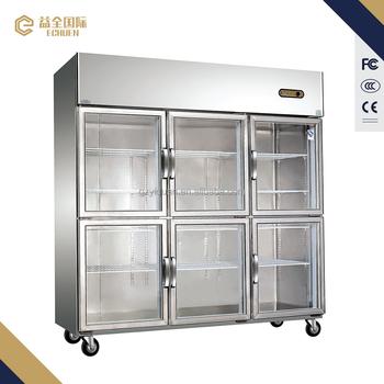 1600litre 6 Door Clear Glass Door Refrigeratorupright Glass Door