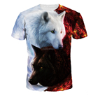2018 Newest Wolf 3D Print Animal Cool Funny Men Short Sleeve Summer Tops Tee Shirt T Shirt Male Fashion shirt Mens