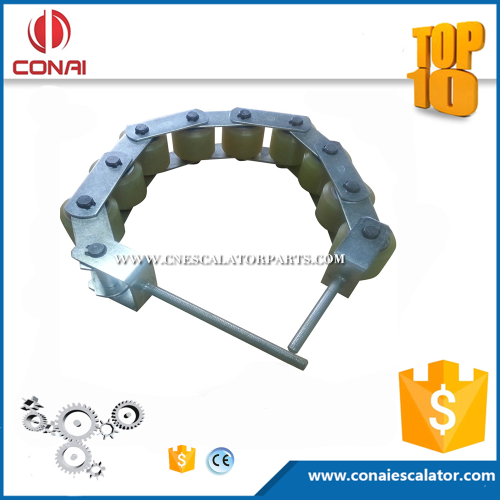 CNHC-001 escalator handrail support chain with 9 rollers in 60x55 and 70mm pitch