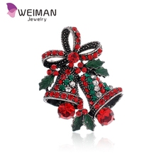 Crystal Rhinestone Christmas Small Bell Brooch