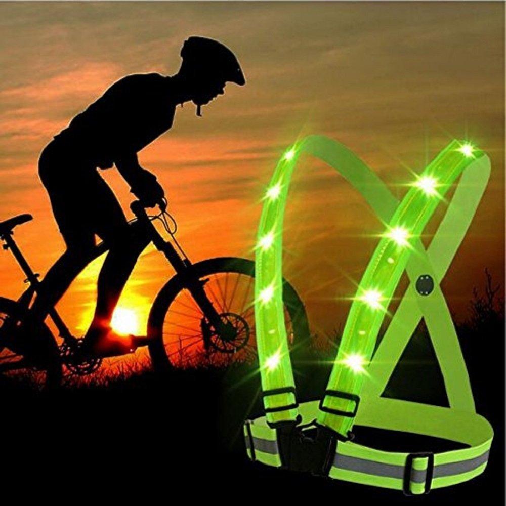 LED Reflective Safety Vest Flashlight Warning Fit Women Men Kids for Outdoor Spo