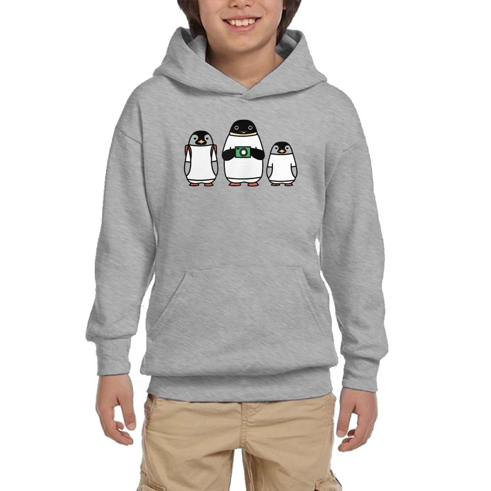 Cartoon Penguin Youth Athletic With Pocket Hoodies Crew Neck Pullover Sweatshirts