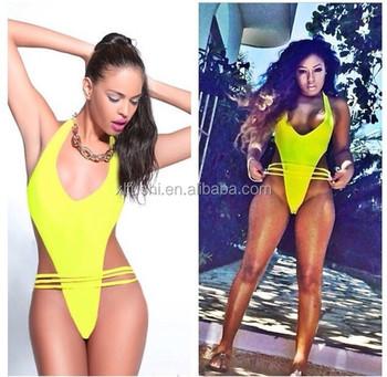 1545de2266b94 HOT!Yellow 3 Straps Sexy Ladies High Cut Swimwear One Piece Monokinis