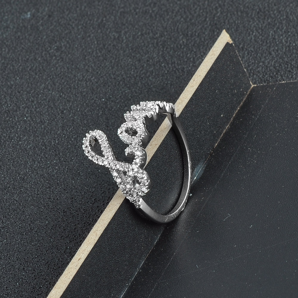 China Fashion Jewellery Wholesale Women Love Symbol 925 Silver CZ Ring 325