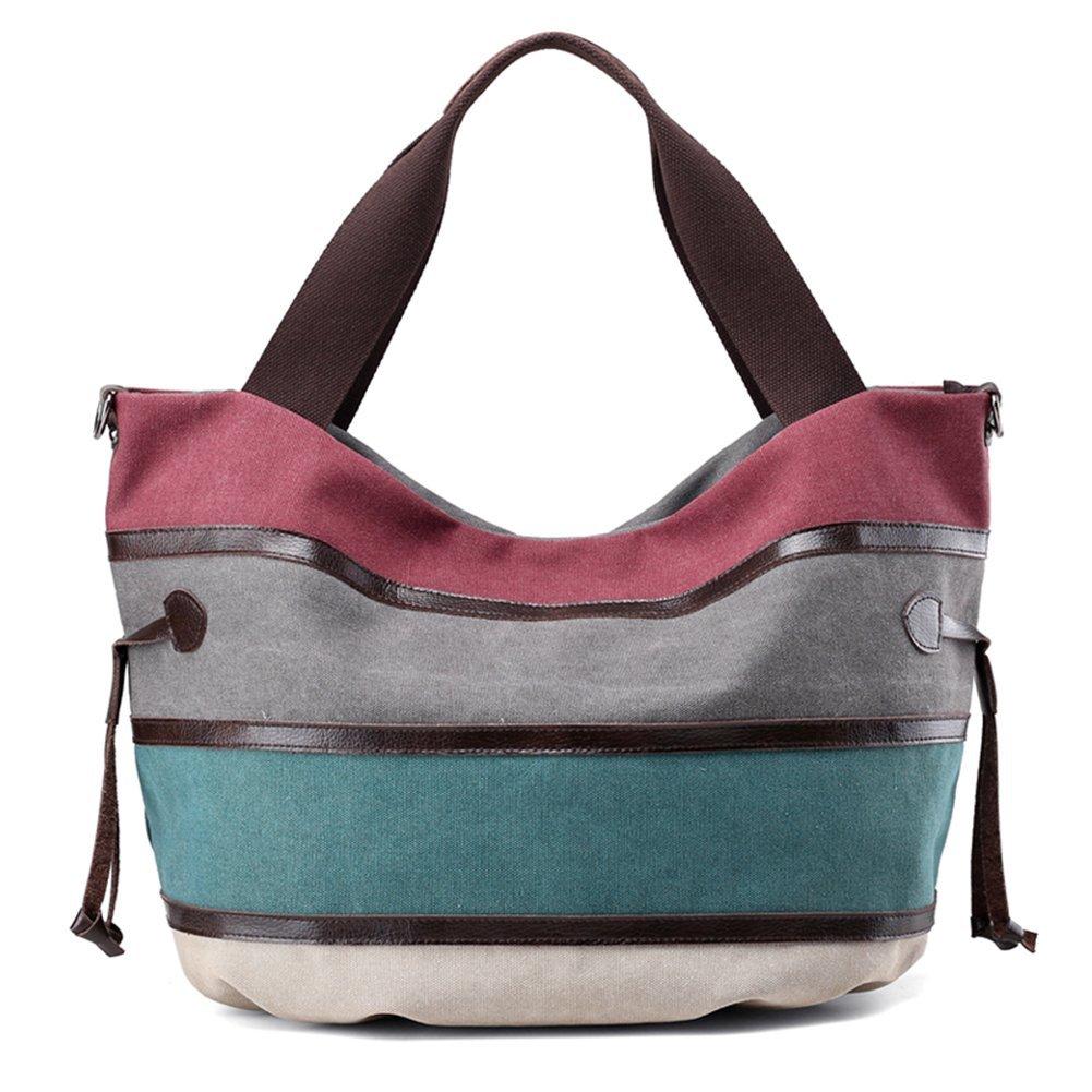 Womens Canvas Shoulder Bag - Canvas Stripes Purse Tote Shoulder Bag - Travel Beach Handbag - Lady Retro Handbags Casual Tote Bag for Girls