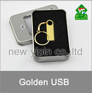 New Yipin OEM USB Golden Metal Logo Customize Mini USB Pen Drive with Keychain
