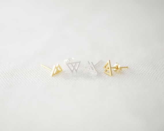f9e5b79138ab5 Fashion superposition triangle stud earrings, geometric peaks stud earrings  wholesale free shipping - us545