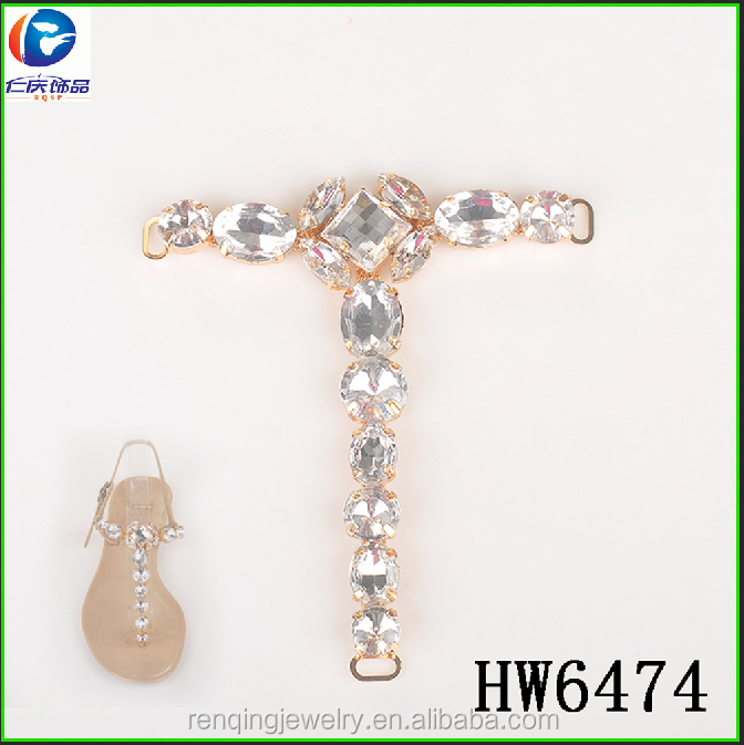 Hw6474 Factory Directly Selling Rhinestone Jeweled Sandal Upper Decorative T Chain For Lady Sandals