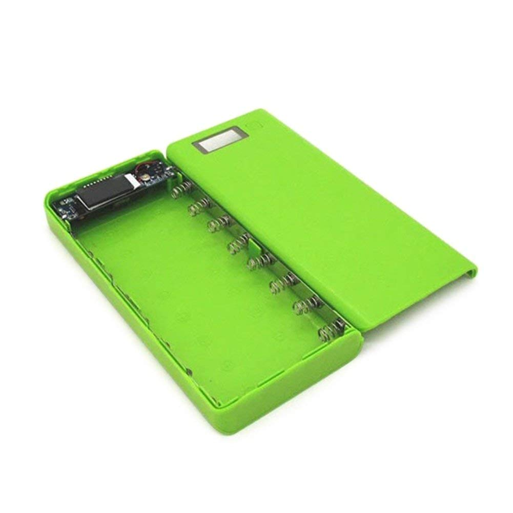 DIY Dual USB Power Bank Shell Box Portable 8x18650 External Battery Power Bank Case with LCD Display For Smart Phone(No Battery) (GREEN)