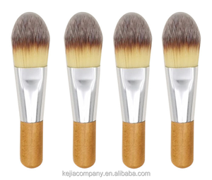 New product single branch original wood color wooden handle makeup brush short handle three color wool flat head foundation brus