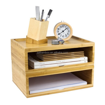 Stackable Bamboo Storage Chest Box Office Desktop Organizer with Monitor Riser Stand