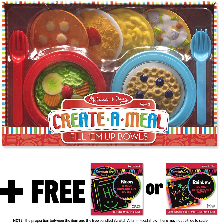Fill 'Em Up Bowls: Create-A-Meal Play Set + FREE Melissa & Doug Scratch Art Mini-Pad Bundle (95419)
