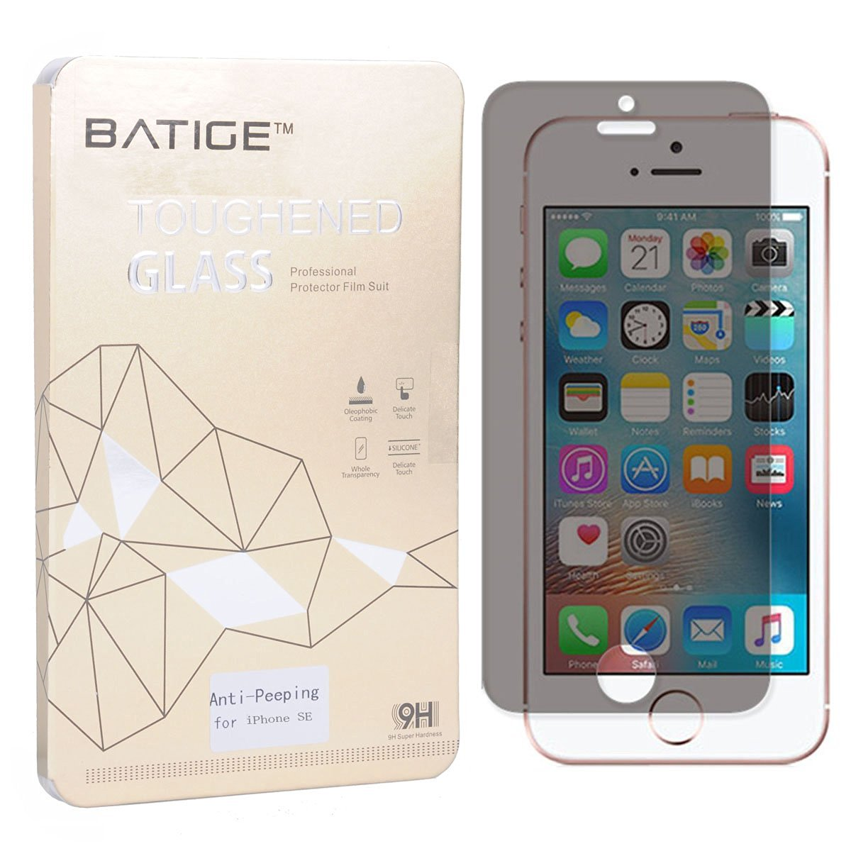 BATIGE Privacy Tempered Glass Screen Protector for iPhone SE 5 5C 5S Anti-spy Anti-peeping Glass Screen Guard