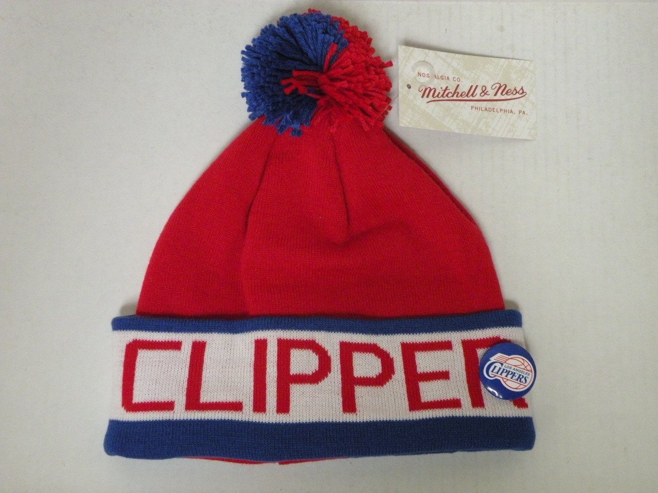 Get Quotations · Mitchell and Ness NBA LA Clippers 2 Tone Cuffed Knit Pom Beanie  Cap with Pin b29df3a8b6ac