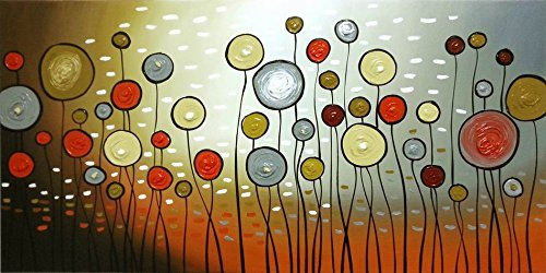 Wieco Art   Extra Large Modern 100% Hand Painted Stretched And Framed  Abstract Flowers Artwork