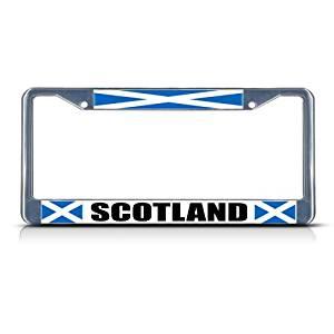 SCOTLAND SCOTTISH FLAG COUNTRY Chrome Heavy Duty Metal License Plate Frame