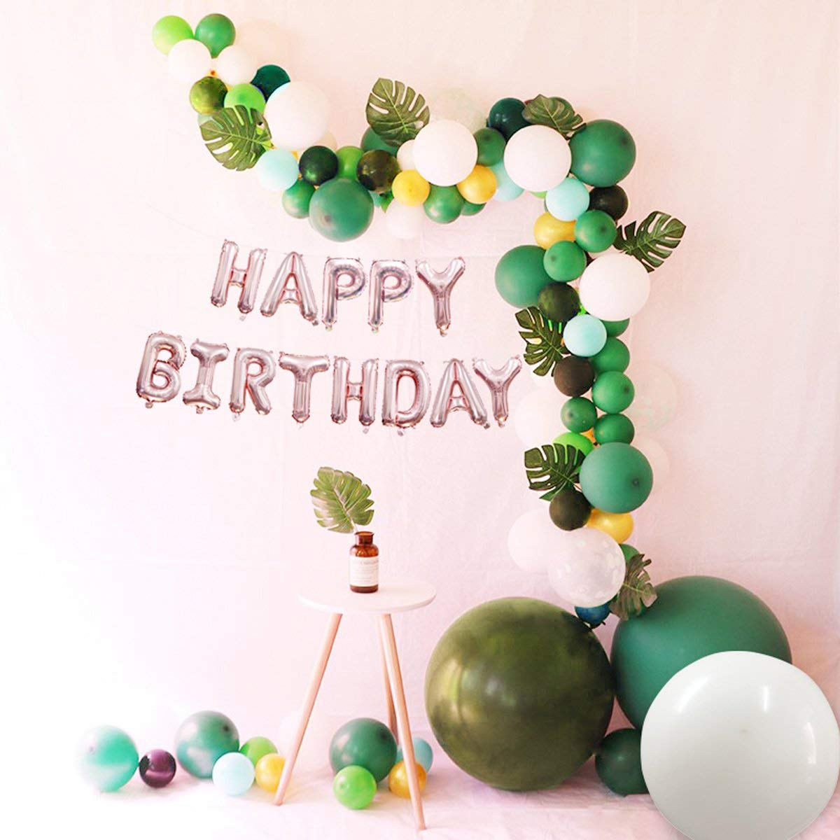 Happy Birthday Balloons Banner Rose Gold 16 inch with 12pcs Artificial Palm Leaves Monstera Leaf and Latex Balloons