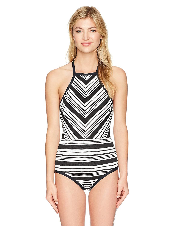 563194c9fdf44 Anne Cole Women's Studio Black and White Pique Stripe High Neck One Piece  Swimsuit