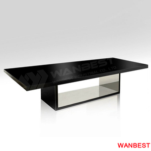 rectangular shape 10-12 person glossy black solid surface commercial meeting high end conference table