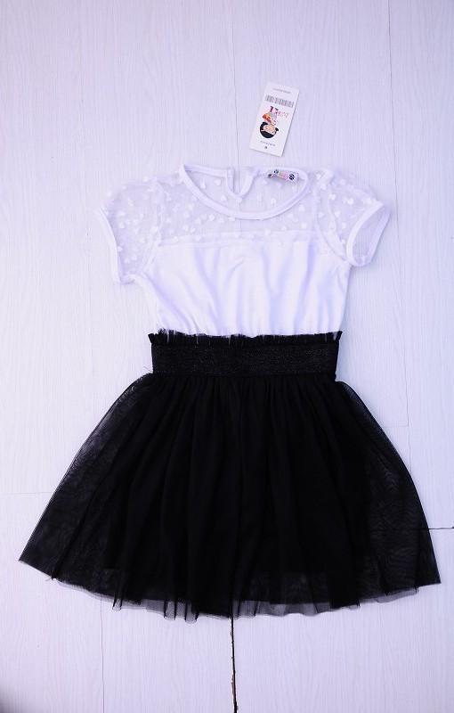 Vestido manga corta negro nina
