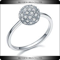 From China Popular Trendy Diamond Ball Ring 925 Sterling Silver Zircon Ring