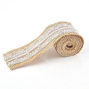 Lariy 2m Wedding Natural Burlap Lace Rustic Jute Garland Hessian Ribbon Roll Decor New
