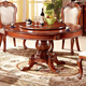 new design home furniture solid wood classic dinner house round rotating dining table and 6 chairs M320