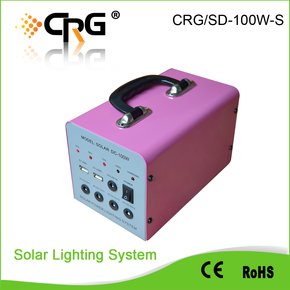 Portable 100W 18V input mini Solar power System Small rechargeable led home lighting solar power system